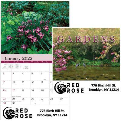 Custom Printed 2018 Gardens Stapled Wall Calendars