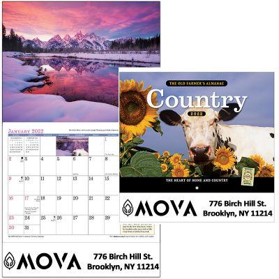Custom Printed 2018 The Old Farmer's Almanac Country Stapled Wall Calendars