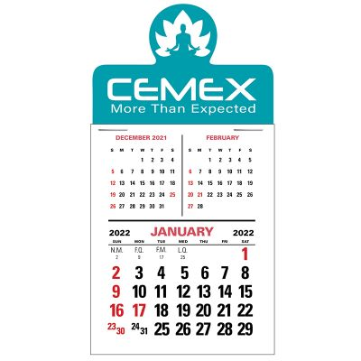 Customized 3 Month Vertical Press-N-Stick Calendars