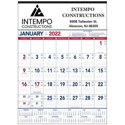 Promotional 2018 Patriotic 13 Sheet Contractor Memo Planners