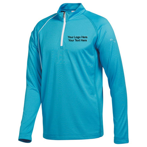 Personalized Mens Puma Golf Quarter Zip Long Sleeve Polo Shirts