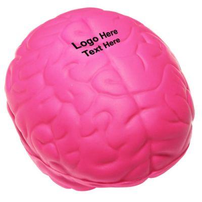 Custom Imprinted Pink Awareness Brain Shaped Stress Relievers