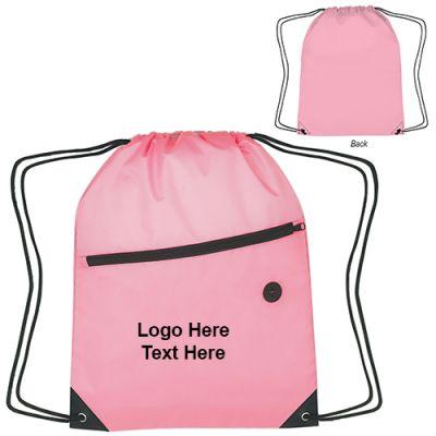 Promotional Pink Awareness Front Zipper Drawstring Sports Pack