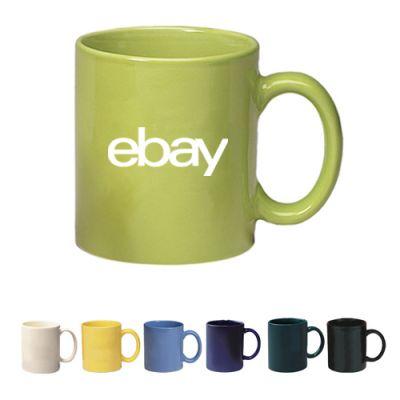 Custom Imprinted Colored Stoneware Mug With C Handle