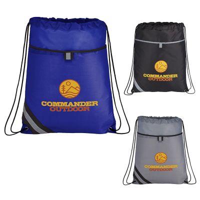 Custom Printed Stripe Drawstring Bags