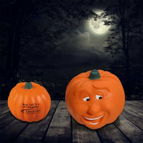 Custom Logo Imprinted Pumpkin Smile Stress Relievers