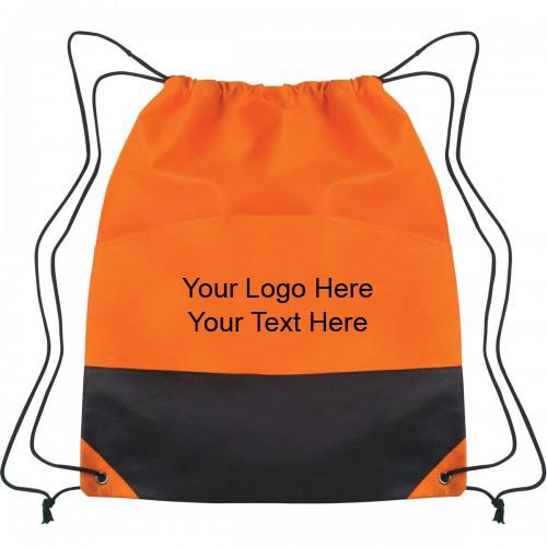 Customized Non-Woven Two-Tone Polypropylene Drawstring Bags