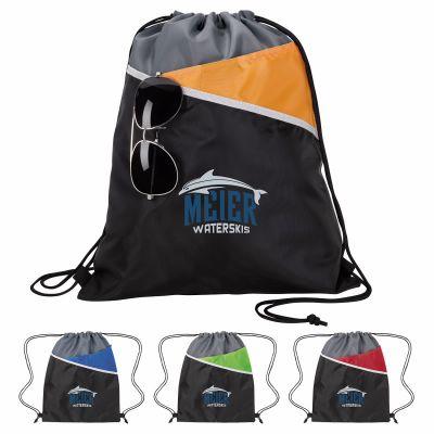 Custom Printed Tri-Tone Drawstring Backpacks