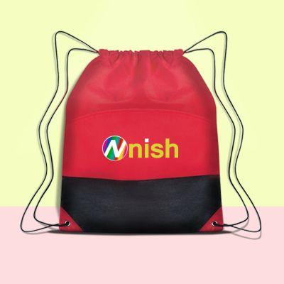 Customized Non Woven Two Tone Polypropylene Drawstring Bags
