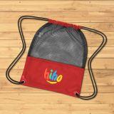 Promotional Logo Mesh Sports Drawstring Bags