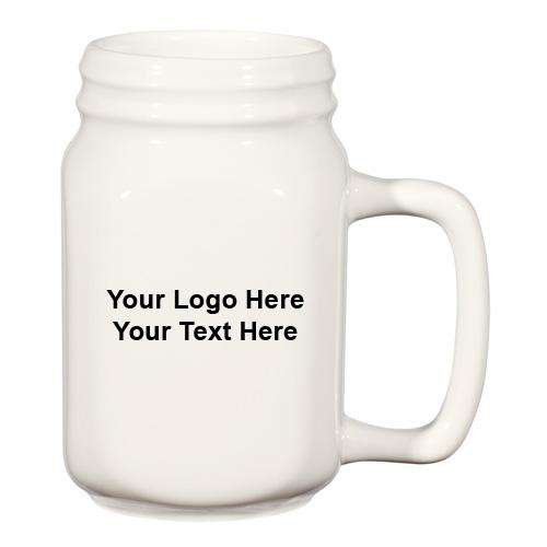 Promotional 14 Oz White Ceramic Mason Jars