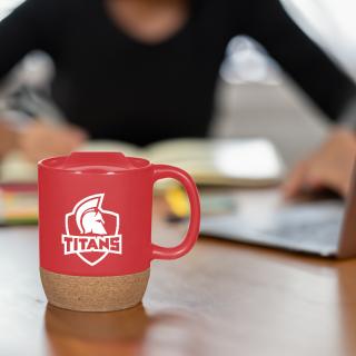 Custom Imprinted 14 Oz Cork Base Ceramic Mugs