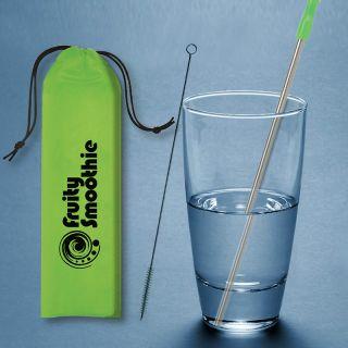Custom Imprinted Stainless Steel Reusable Straw Kit