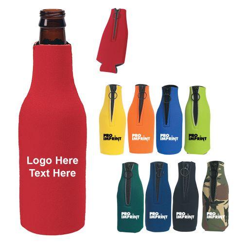 Custom Printed 12 Oz Bottle Buddy Zippered Can Coolers