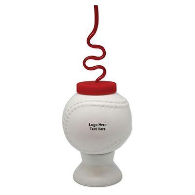 16 Oz Custom Imprinted Krazy Straw Baseball Cups