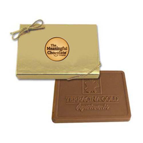 custom printed renoir gift box with 3 oz chocolate bars gold