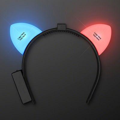 Custom Imprinted Blinking Red & Blue LED Cat Ears Headbands