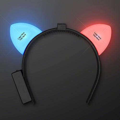 Blinking Red & Blue LED Cat Ears Headbands