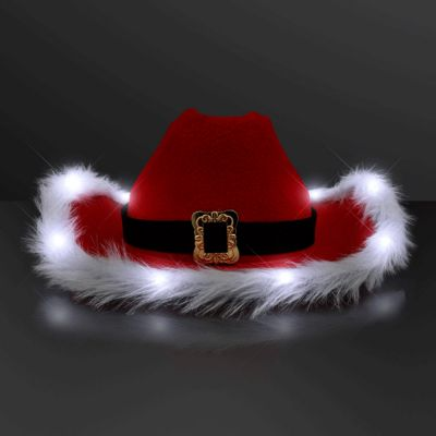 White Light Cowboy Santa Claus Christmas Hats