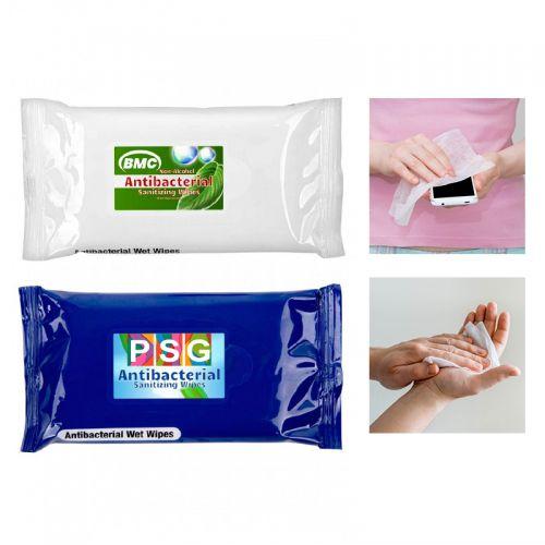 Printed 10 Piece Antibacterial Sanitizer Wet Wipes