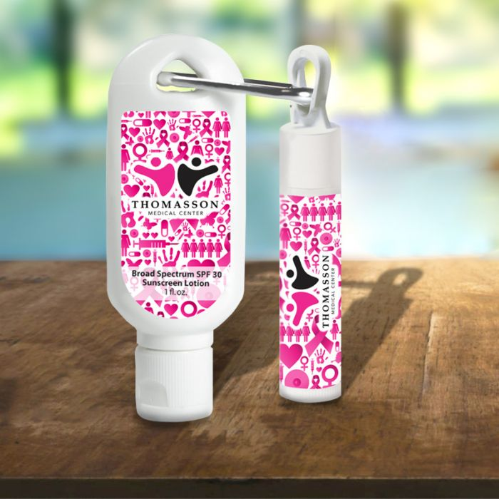 SPF30 Sunscreen Lotions with Carabiner and SPF15 Lip Balms