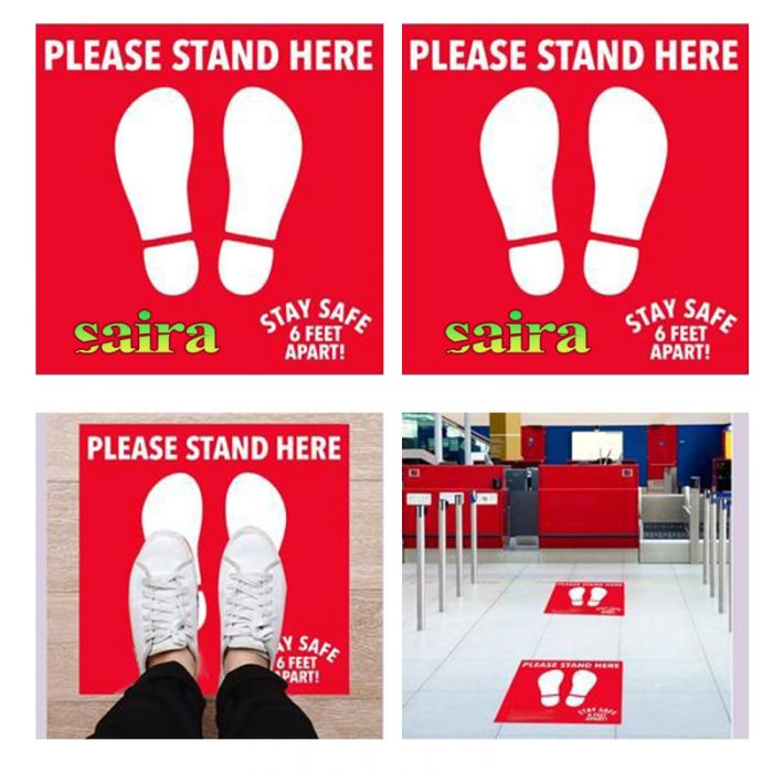 Printed PPE Floor Decal 6 Feet Apart Social Distance Stickers