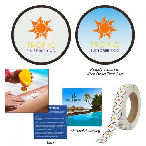 Custom Printed Sunburn Alert UV Color-Changing Stickers