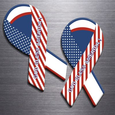 3.8x8 Custom Printed Patriotic Ribbon Shaped Magnets 20 Mil
