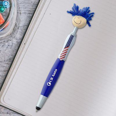 Custom Printed Patriotic Mop Topper Stylus Pens