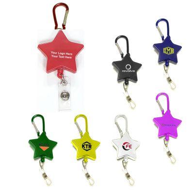 Custom Star Shape Retractable Badge Holders with Carabiner