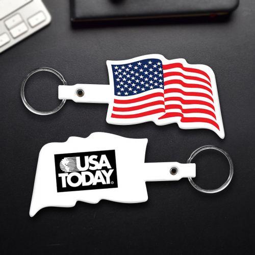 U.S. Flag Shaped Flexible Key Tags