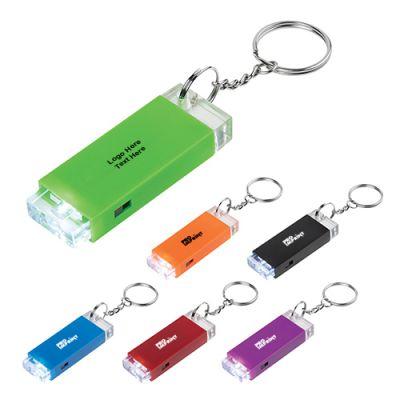 Custom Imprinted Crystal Block LED Light Keychains