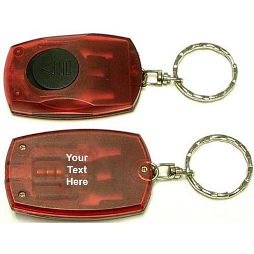 Personalized Rectangular LED Flashlight Keychain w 5 Colors red