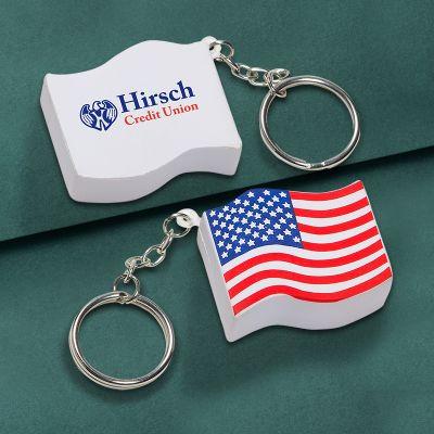 Custom Printed US Flag Key Chains