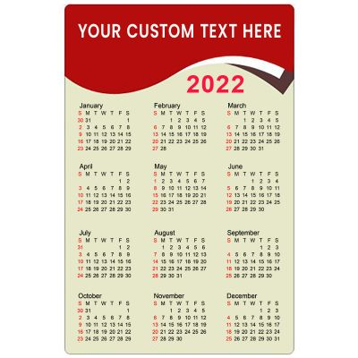 5.25x8 Custom Refrigerator Calendar Magnets 20 Mil