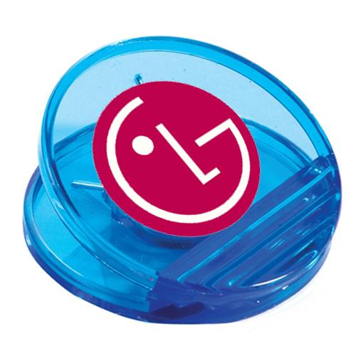 Custom Printed Circle Power Clips translucent blue