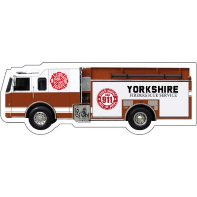 5.125x1.9 Customized Fire Department Truck Shape Magnets 20 Mil