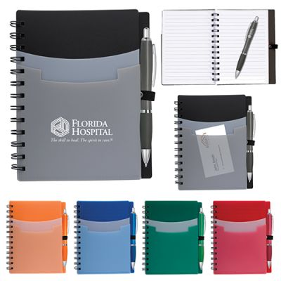 5x7 Inch Tri-Pocket Notebooks & Satin Pens