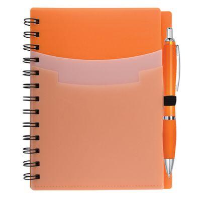 Promotional 5x7 Inch Tri-Pocket Notebooks & Satin Pens