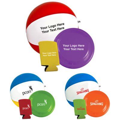 Custom Printed Beach Fun Kit with Flyer, Beach Ball & Pocket Can Holders