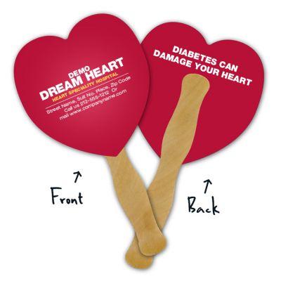 5.25x5.5 Inch Custom Imprinted Heart Shaped Mini Hand Fans