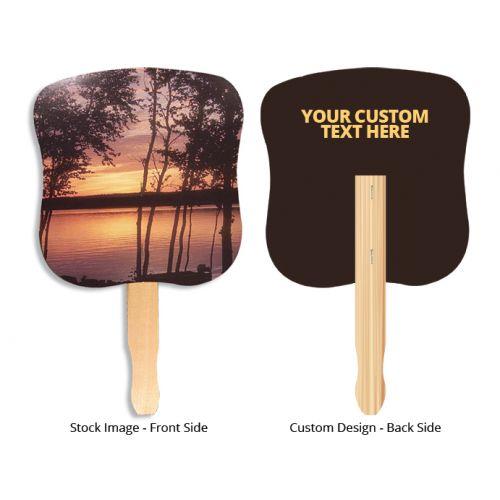 7.625 x 8 Inch Custom Stock Sunset Design Hand Fans