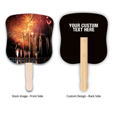 7.625 x 8 Inch Custom Printed Stock Firework Design Hand Fans