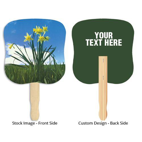 Customized Stock Daffodil Design Hand Fans