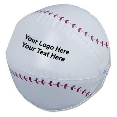 14 Inch Custom Imprinted Baseball Shaped Beach Balls