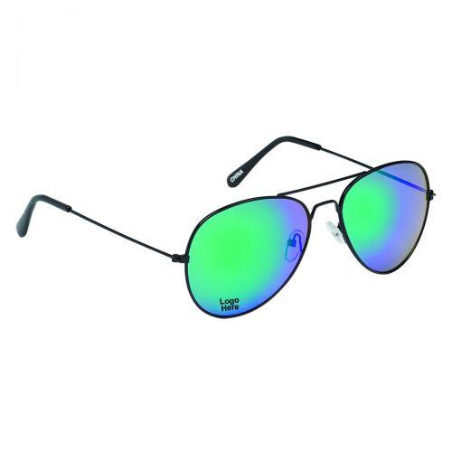 Custom Printed Black Frame Aviator Sunglasses
