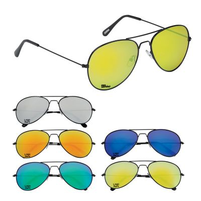 Custom Printed Black Frame Navigator Sunglasses