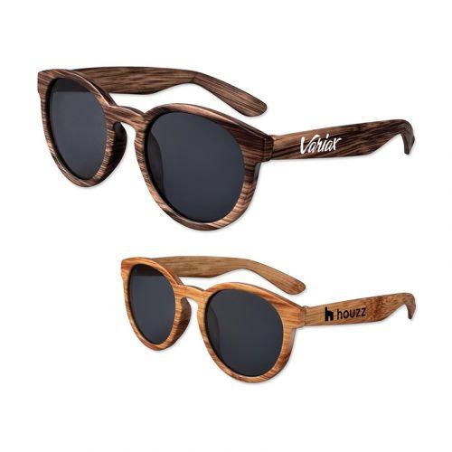 Custom Printed Wood Round Lens Sunglasses
