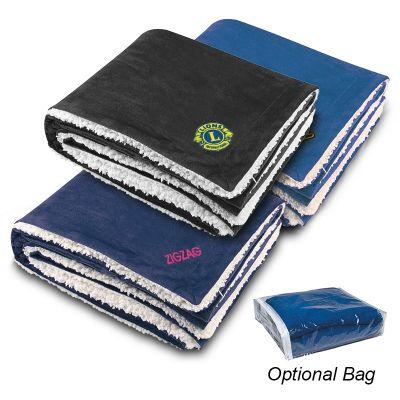 Custom Logo Imprinted Sherpa Blankets
