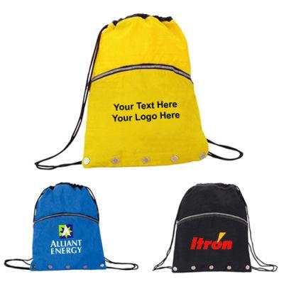 Custom Crinkled Nylon Drawstring Backpacks with Vented Front Pocket
